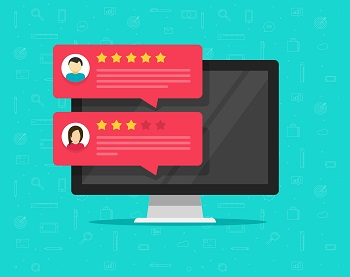 Computer and customer review rating messages vector illustration, flat desktop pc display with online reviews or client testimonials, concept of experience or feedback, rating stars, survey comments, budget movers